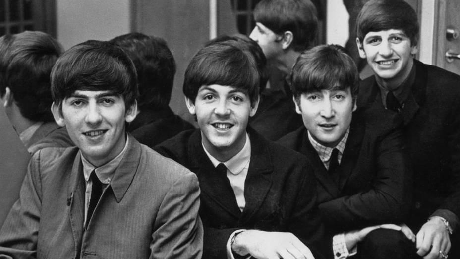 O quarteto de Liverpool durante turnê na Suécia em 1963