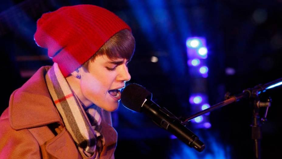<p>Justin Bieber durante show de Ano-Novo na Times Square, em Nova York</p>