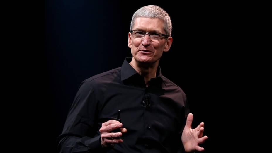 Tim Cook CEO da Apple fala durante evento no Yerba Buena Center for Arts, em São Francisco, Califórnia, em que será realizado o anúncio do novo iPhone 5