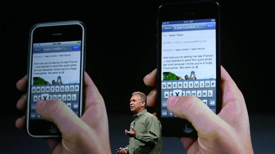 Phill Schiller vice-presidente sênior da Apple durante evento no Yerba Buena Center for Arts, em São Francisco, Califórnia, em que será realizado o anúncio do novo iPhone 5