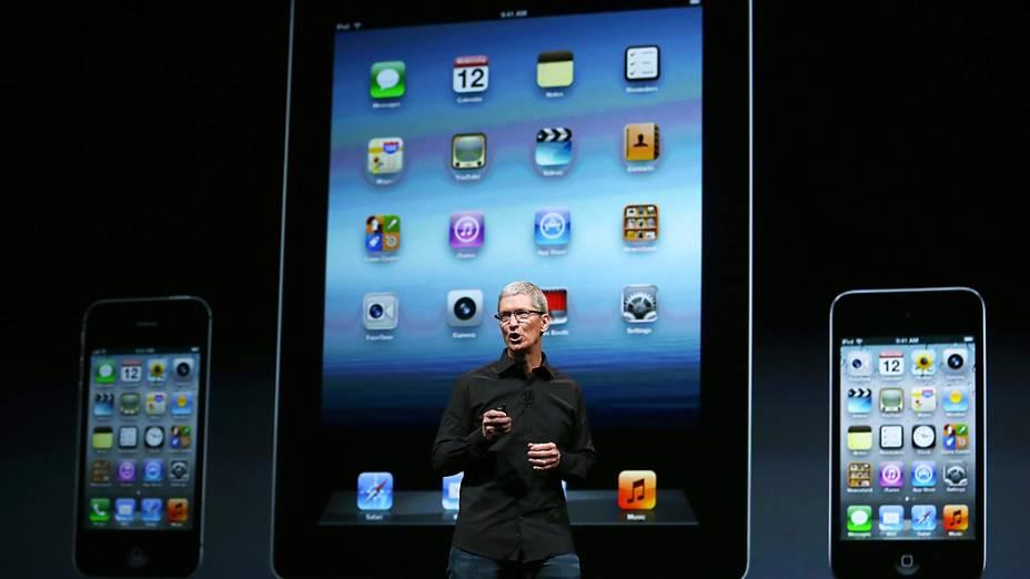 Tim Cook CEO da Apple fala durante evento no Yerba Buena Center for Arts, em São Francisco, Califórnia, anunciando o novo iPhone 5