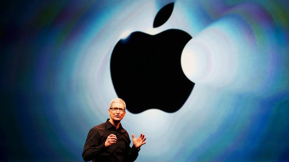 Tim Cook CEO da Apple fala durante evento no Yerba Buena Center for Arts, em São Francisco, Califórnia, anunciando as novidades da empresa