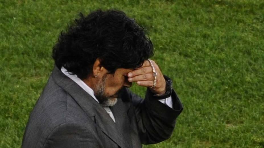 Maradona lamenta derrota para a Alemanha nas Quartas de Final da Copa da África do Sul