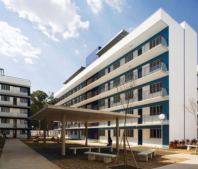 Nova Jaguaré, conjunto habitacional projetado pelo arquiteto Marcos Boldarini. Cada apartamento tem pouco mais de 50 metros quadrados divididos em sala, cozinha, banheiro e dois ou três quartos