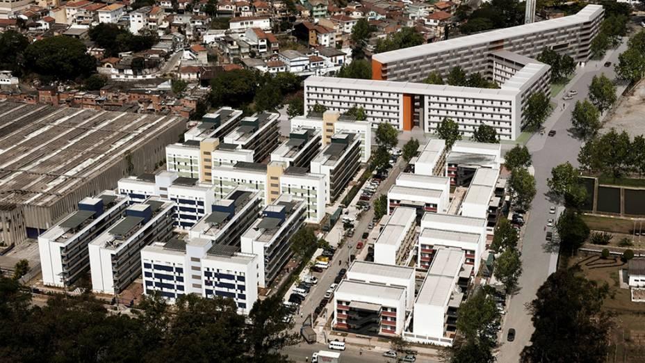 Vista aérea do Conjunto Habitacional Nova Jaguaré, com a projeção virtual (ao fundo) da segunda parte do projeto