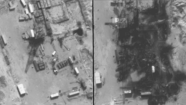 Imagem divulgada pelo Pentágono mostra refinarias de petróleo controladas pelo Estado Islâmico no leste da Síria, antes e depois de ser destruída em um ataque aéreo dos EUA