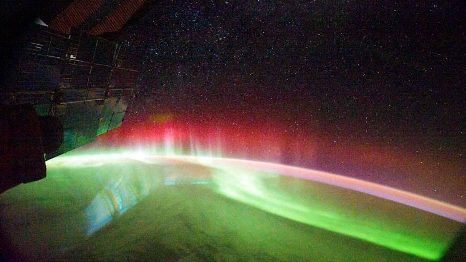 <p>Aurora austral próximo à Austrália vista da Estação Espacial Internacional</p>