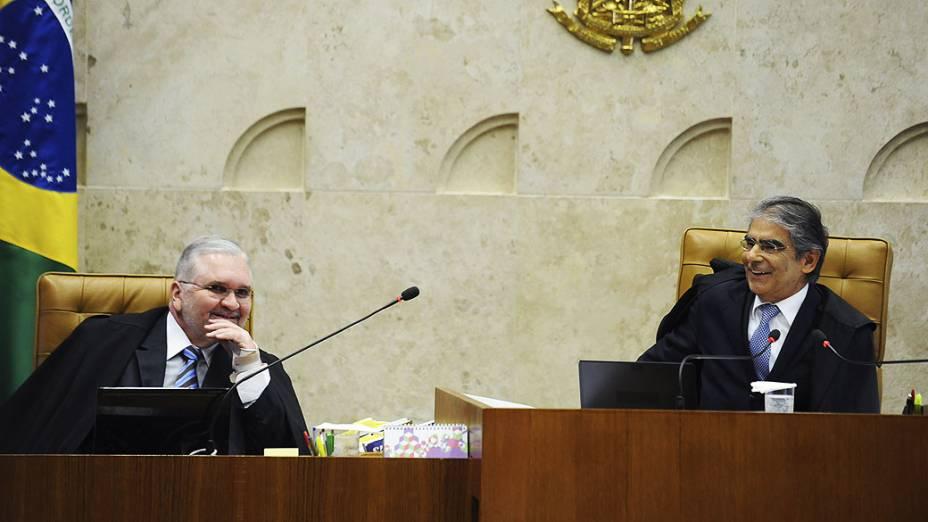 O presidente do Supremo Tribunal Federal (STF), Ayres Britto, durante julgamento do mensalão, em 10/10/2012