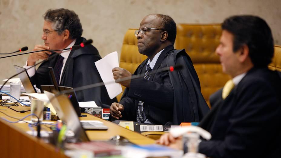 Ministro Joaquim Barbosa, relator, durante o julgamento do mensalão, em 08/11/2012