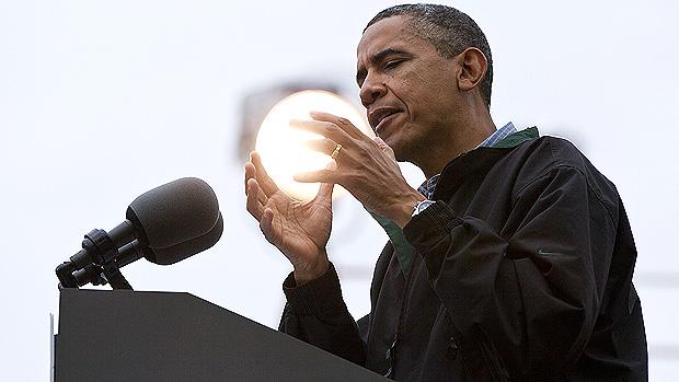 O presidente Barack Obama participa de evento no Bayliss Park, na cidade de Council Bluffs, no estado de Iowa, em agosto