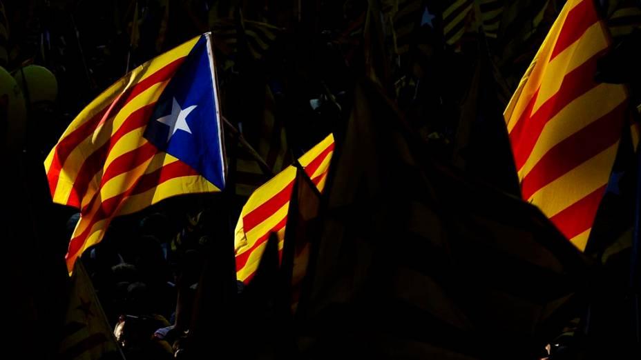 Manifestações durante o Dia Nacional da Catalunha, na Espanha