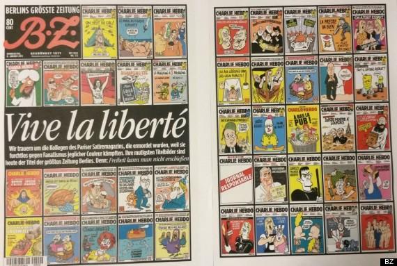 """O jornal alemão B.Z Berlin dedicou a primeira e a última página ao atentado à sede da revista Charlie Habdo. A manchete, escrita em francês, diz """"Viva à liberdade"""""""