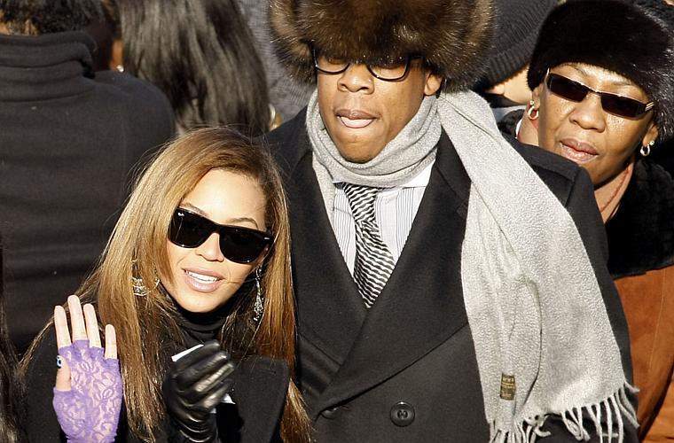 Beyoncé e o marido Jay-Z na posse do presidente americano Barack Obama, em janeiro de 2009.