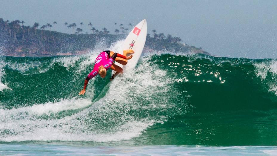 Surfista Stephanie Gilmore durante o Billabong Pro Rio, realizado na praia do Arpoador, Rio de Janeiro