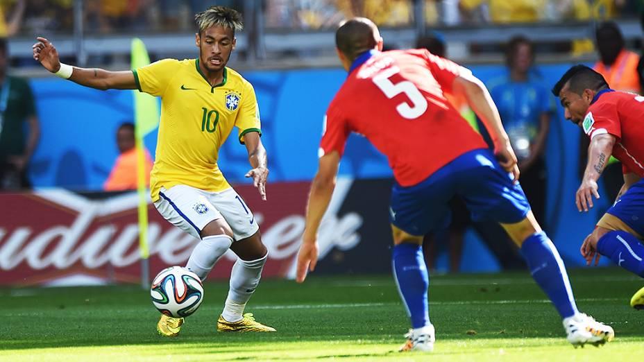 Neymar na partida contra o Chile, em Minas Gerais
