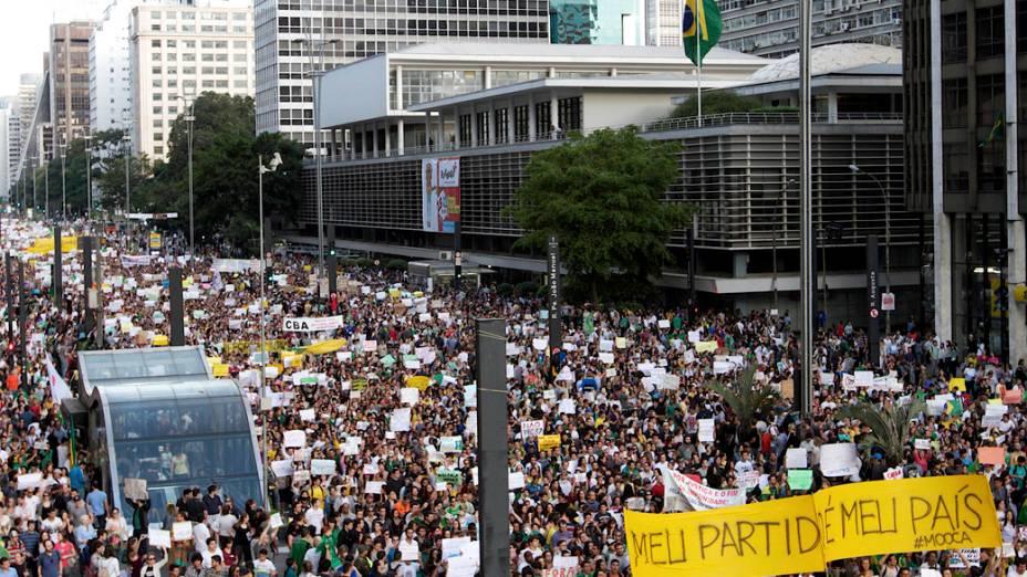 São Paulo - Manifestantes fazem protesto na Avenida Paulista contra a PEC 37, neste sábado (22)