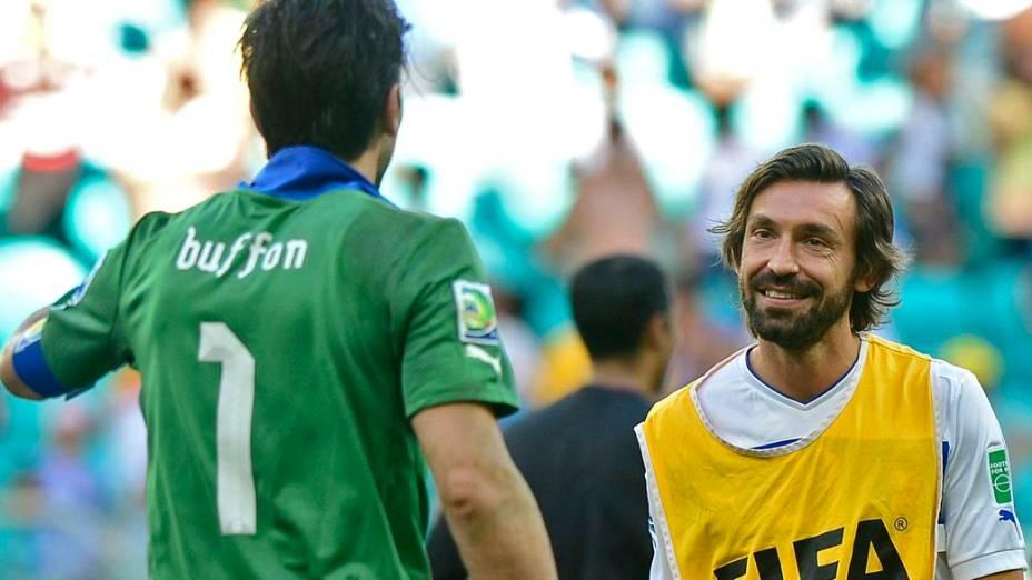 Buffon e Pirlo na Copa das Confederações, em 2013: os astros italianos virão ao Brasil mais uma vez, para o último Mundial de suas carreiras