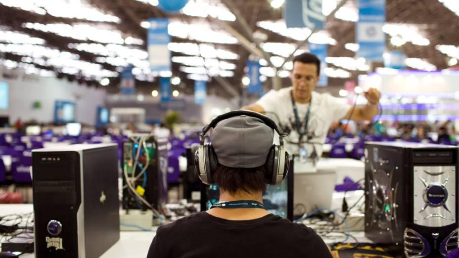 Campuseiro no primeiro dia da Campus Party no Parque Anhembi, São Paulo