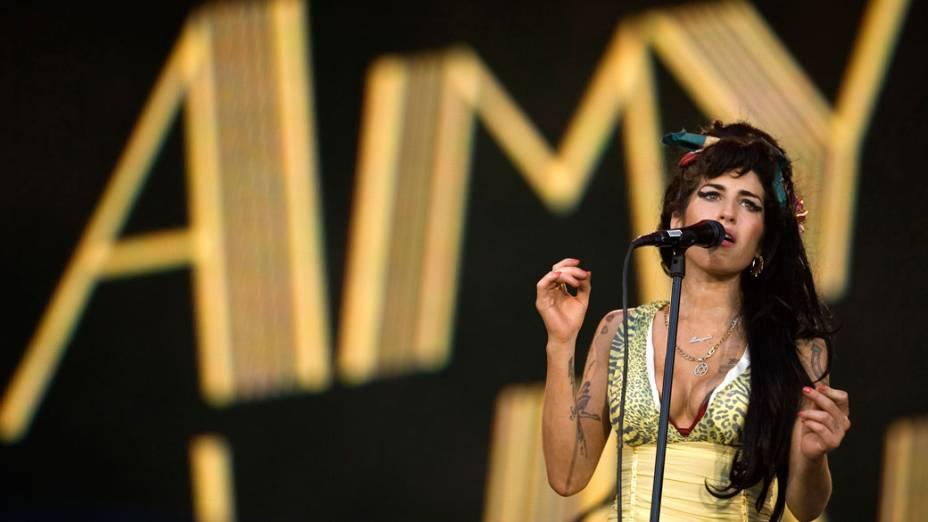 Amy Winehouse durante o Rock in Rio, na Espanha, em 28 de julho de 2008