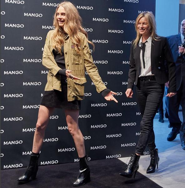 Cara Delevingne e Kate Moss chegam para evento da grife Mango