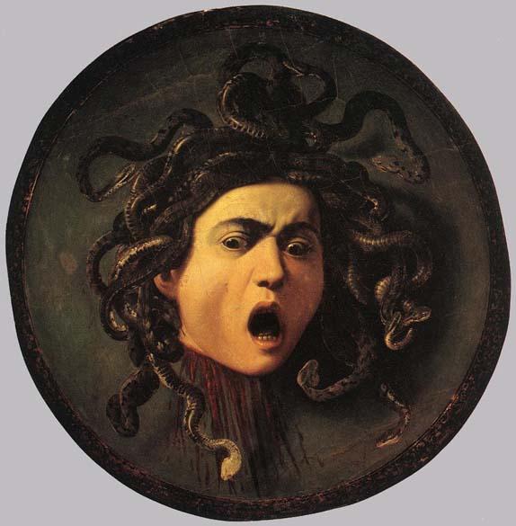 Cabeça de Medusa, de 1598. A pintura foi encomendada como um presente para o grão-duque da Toscana, entrando para a coleção dos Médici. Hoje é parte do acervo da Galeria Uffizi, em Florença