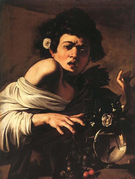 Menino Mordido por um Lagarto, produzida entre 1595 e 1600. A tela está exposta na National Gallery em Londres