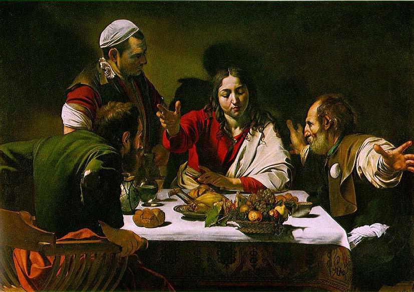 A Ceia em Emaús, de 1601. A pintura foi encomendado pelo nobre romano Ciriaco Mattei. Atualmente, ela está na  National Gallery , em Londres. Caravaggio pintou uma segunda versão do quadro, que está exposta na  Pinacoteca de Brera  em Milão, na Itália