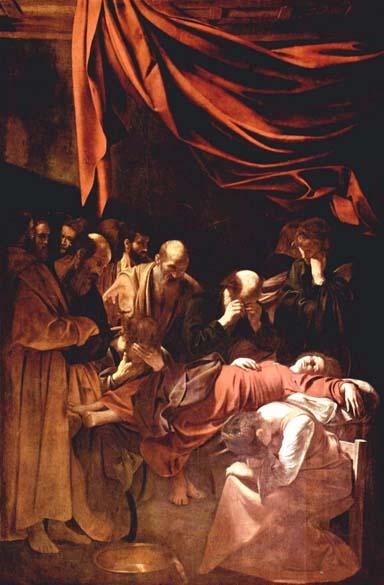A Morte da Virgem, de 1606. A pintura foi encomendada em 1601 para a igreja de Santa Maria della Scala, em Roma. Atualmente pode ser encontrada no Museu do Louvre, em Paris: