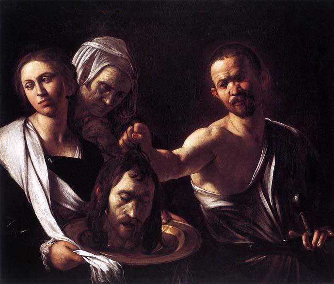 Salomé recebe a cabeça de São João Batista, pintada entre 1607 e 1610. A obra foi produzida nos anos finais de sua vida; hoje é do acervo da National Gallery, em Londres