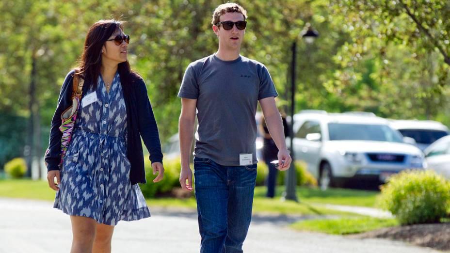 Mark Zuckerberg e a namorada, Priscilla Chan, nos Estados Unidos