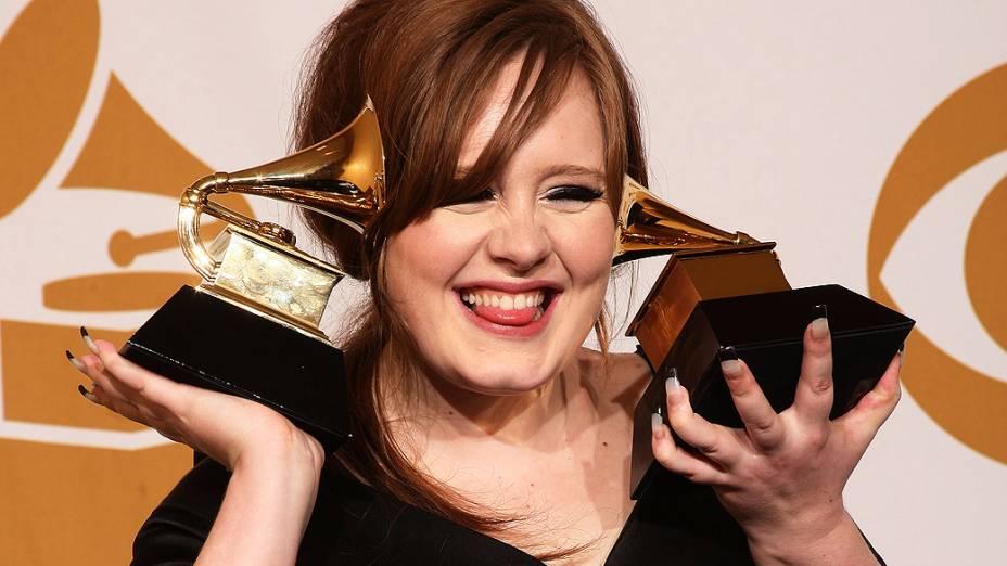 Adele após vencer dois prêmios do Grammy em 2009