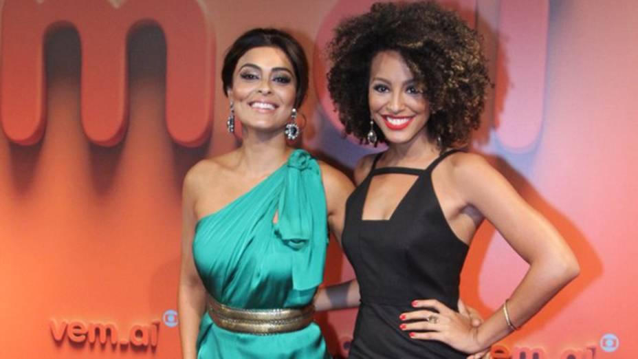 Juliana Paes e Sheron Menezes na Festa Vem Ai da Globo no Citibank Hall em São Paulo
