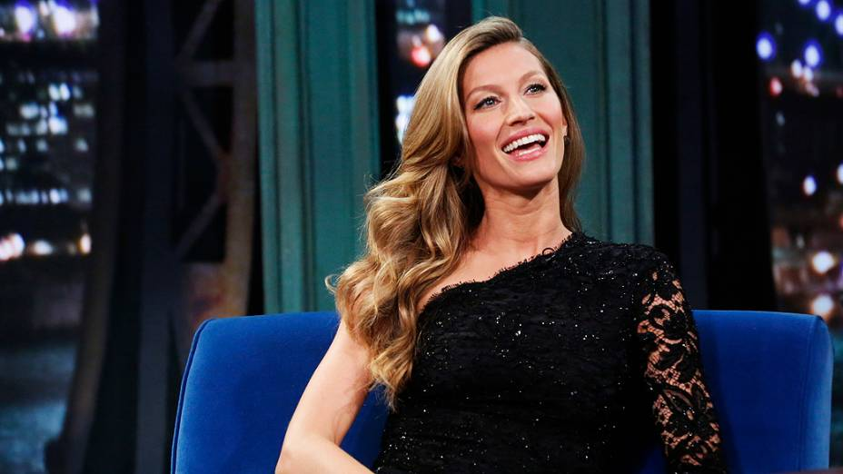 Gisele Bündchen durante o programa americano Late Night with Jimmy Fallon