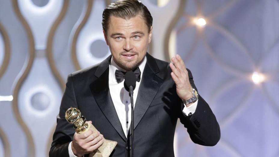 <p>Leonardo DiCaprio leva o prêmio de melhor ator em filme cômico ou musical por O Lobo de Wall Street</p>