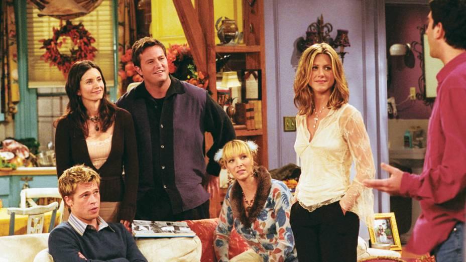 Participação especial de Brad Pitt em Friends, na oitava temporada do seriado, quando ele ainda namorava a Jennifer Aniston, a Rachel