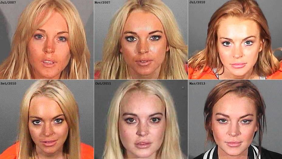 Montagem de fotos com as passagens da atriz Lindsay Lohan pela polícia entre 2007 e 2013