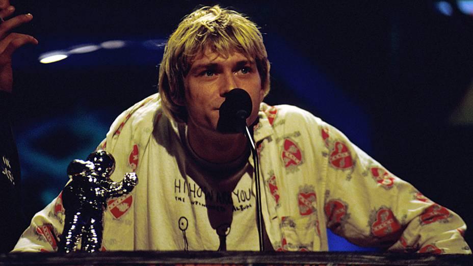 Kurt Cobain durante a cerimônia do MTV Awards em 1992