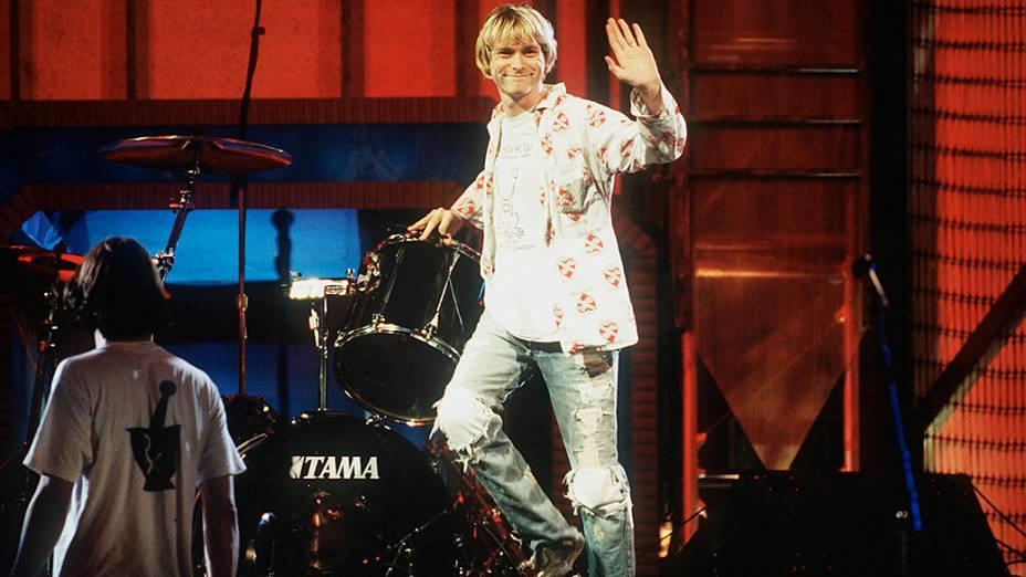 Kurt Cobain durante apresentação na cerimônia do MTV Awards em 1992