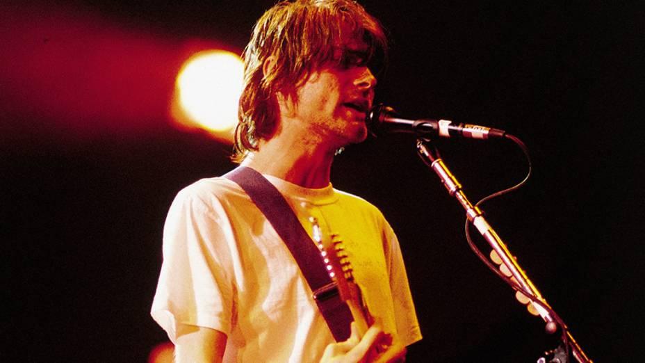 Kurt Cobain, durante show no Hollywood Rock Festival, em 1993