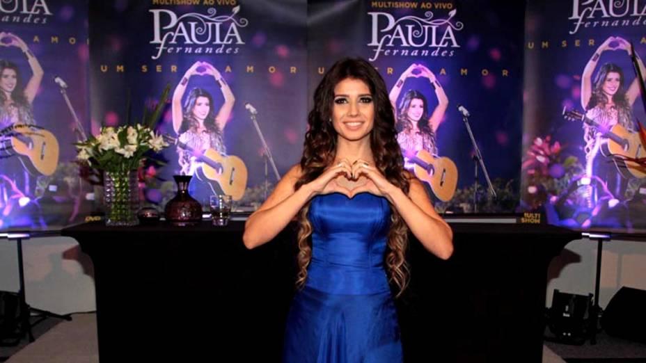 A cantora Paula Fernandes, na coletiva do DVD ao vivo Um Ser Amor, em São Paulo