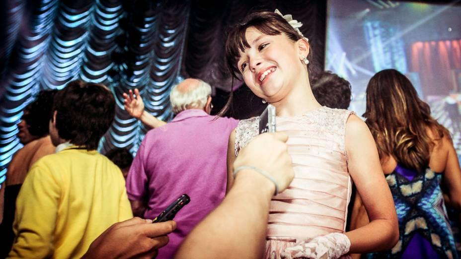 Atriz Larissa Manoela que interpreta Maria Joaquina na novela Carrossel durante evento realizado em um circo, em São Paulo
