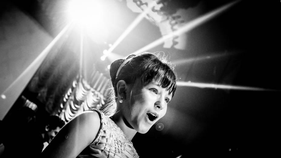 Atriz Larissa Manoela que interpreta Maria Joaquina na novela Carrossel durante evento realizado em um circo em, São Paulo