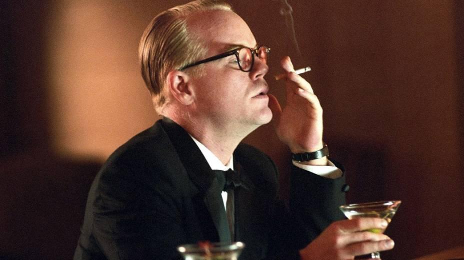 Ator Philip Seymour Hoffman, no filme Capote de Benett Miller