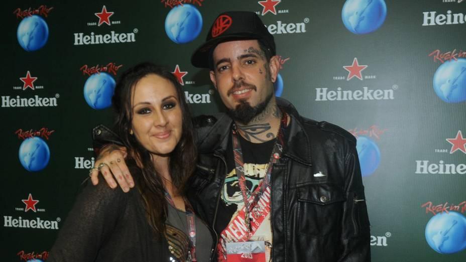 Tico Santa Cruz e Luciana Rocha no camarote da Heineken durante o quarto dia do Rock in Rio 2013