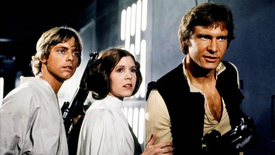 Harrison Ford durante as filmagens de Star Wars Episódio IV: Uma Nova Esperança