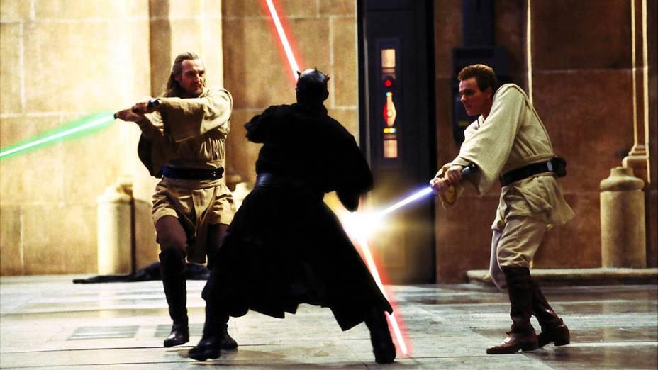 Ewan McGregor e Liam Neeson durante as filmagens de Star Wars Episódio I: A Ameaça Fantasma