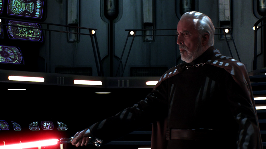 Christopher Lee nas filmagens de Star Wars Episódio III: A Vingança do Sith