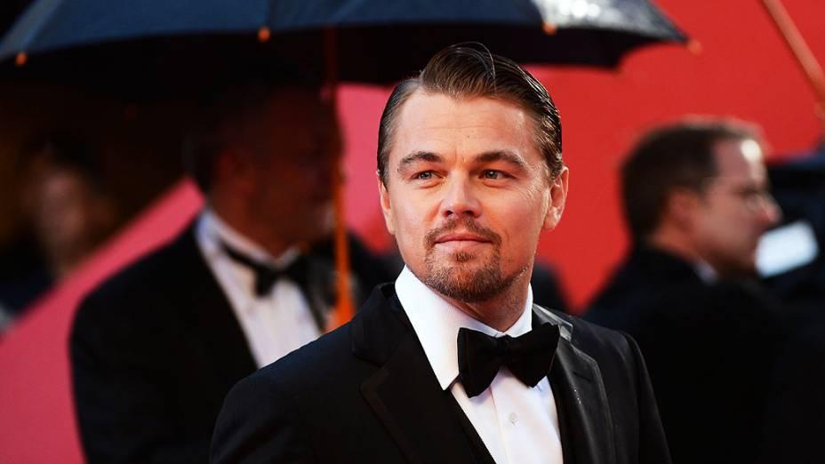 <p>Leonardo DiCaprio durante cerimônia de abertura do filme  O Grande Gatsby no 66° Festival de Cinema de Cannes, no Teatro Lumiere, na França</p>