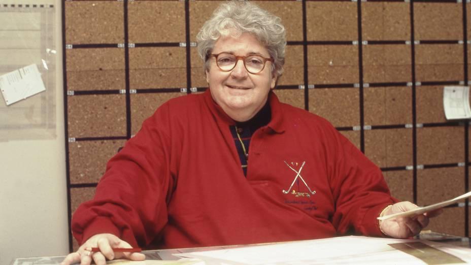 Jô Soares, humorista e apresentador na redação da revista VEJA em 1989