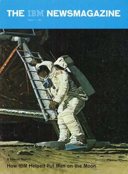 1969 - A tecnologia IBM guia a missão Apollo à Lua. A parceria com o programa espacial americano havia começado mais de dez anos antes, no começo da década de 50